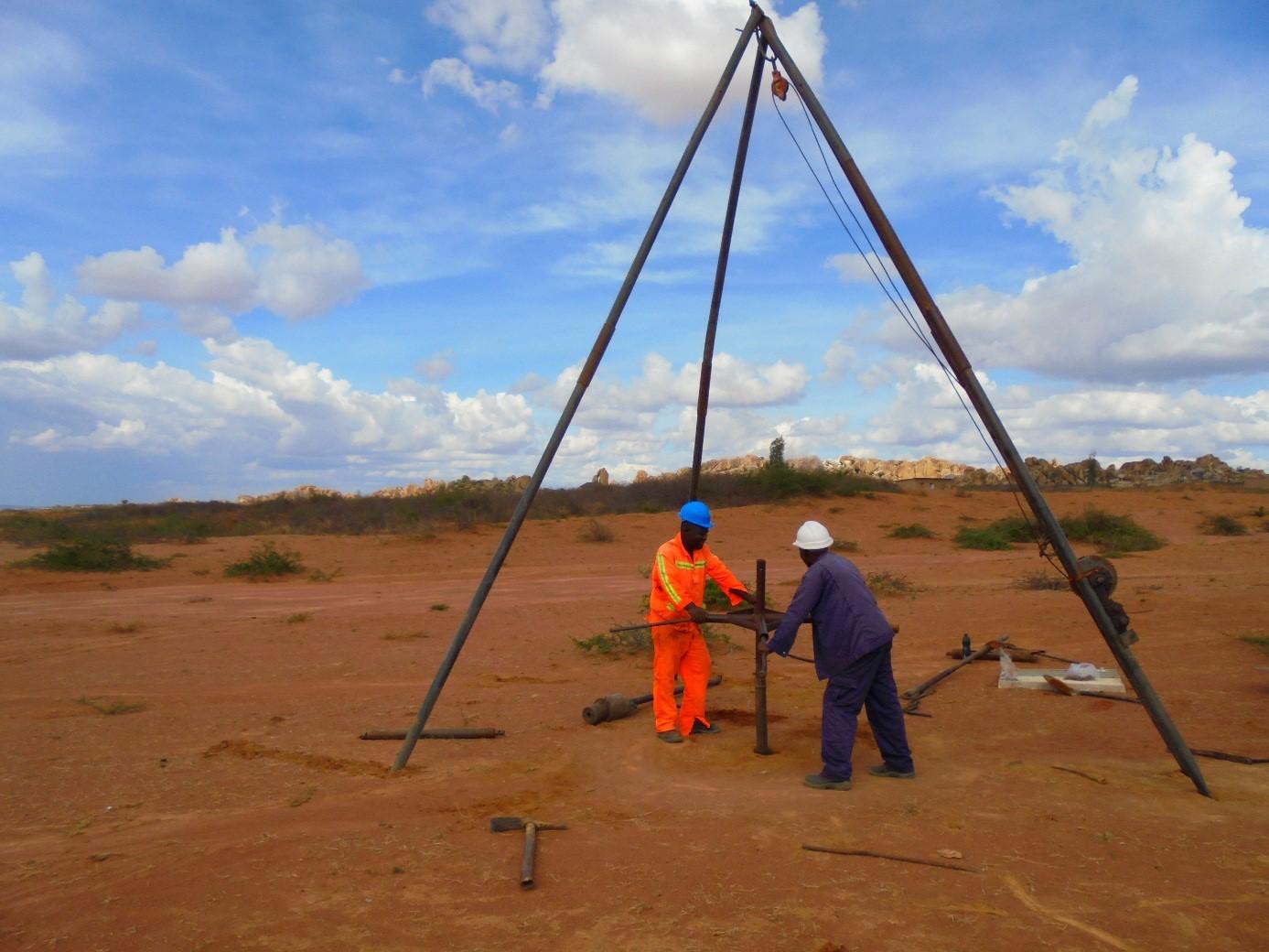 Singida Solar: Men at work, geo-technical boring on site