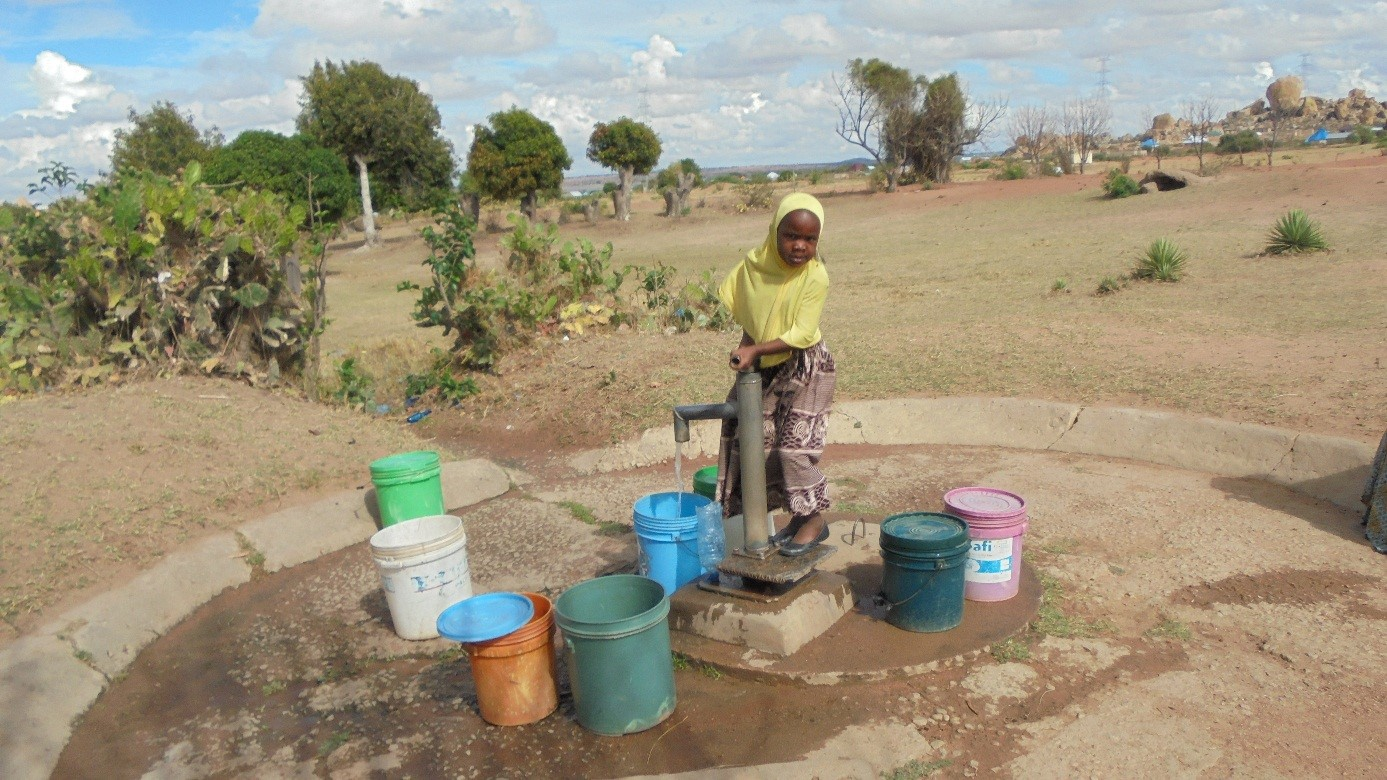 A local girl gathers clean water from an improved water source.