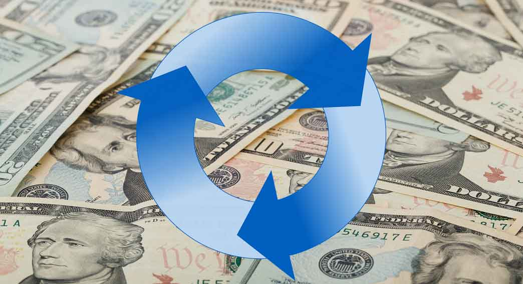 Arrows forming a circle on a background of money for cash flow management