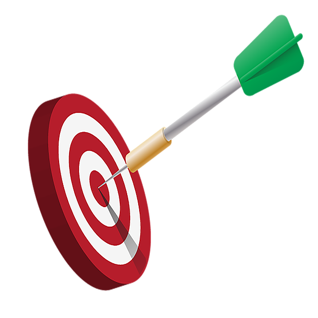 A red and white bullseye with a green arrow in the center