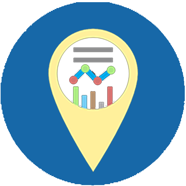 Round blue icon with a yellow pin point with a chart
