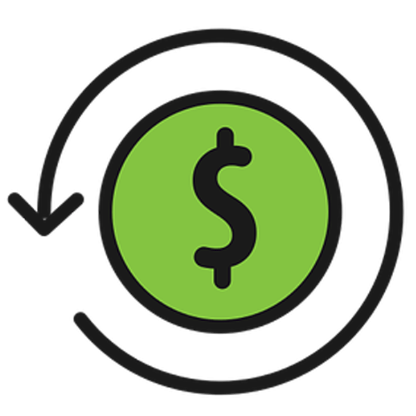 Green and black icon with a dollar sign for cash flow management