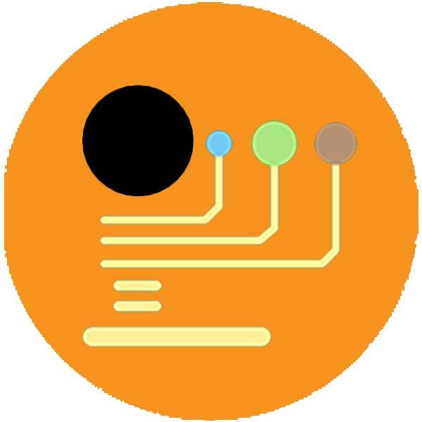 Round orange icon with contact symbols