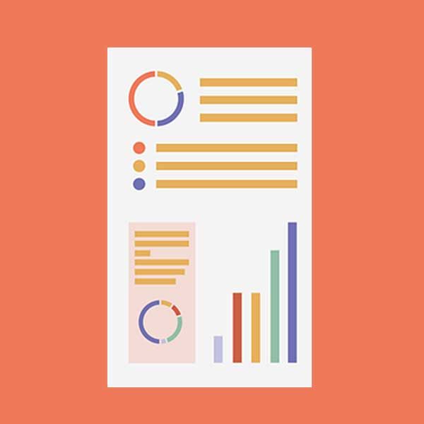 Orange icon with round charts and bar graphs