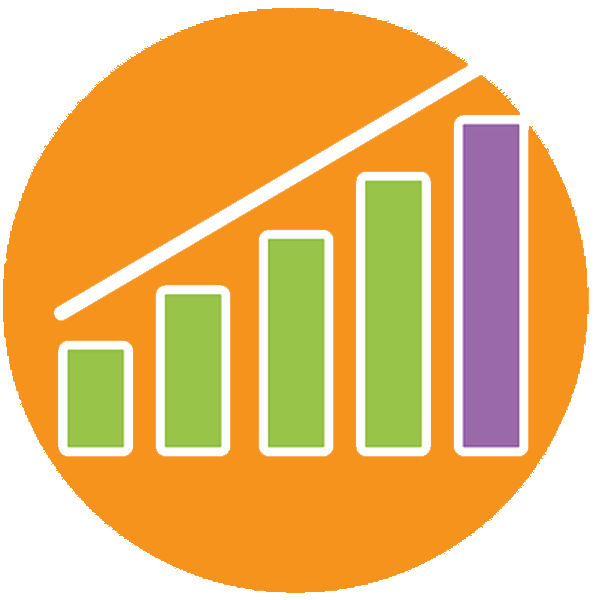 Orange round icon with a line chart