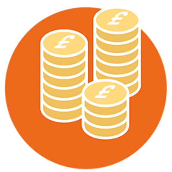 Orange icon with gold coins for individual tax services