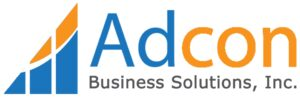 Orange and blue Adcon Business Solutions logo