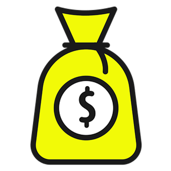 Yellow and black Icon of a bag of money for payroll