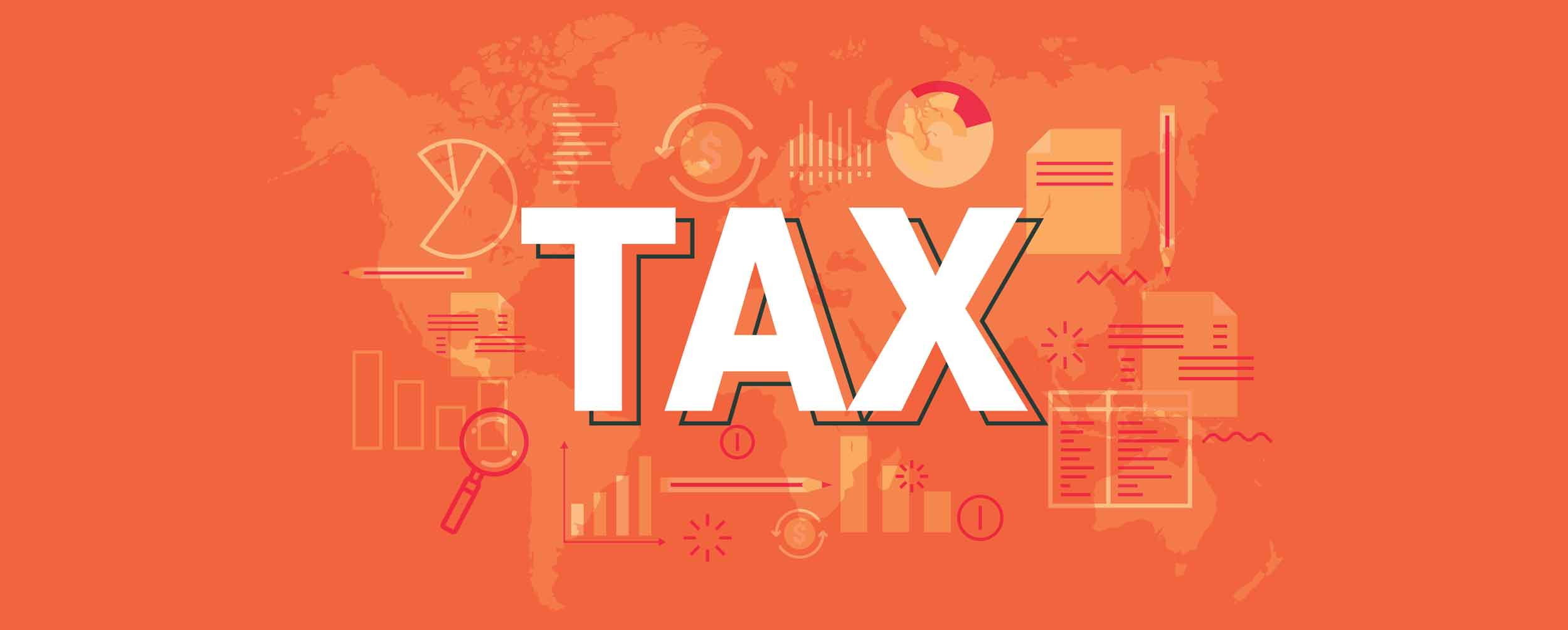 Mobile image Orange graphic with the word Tax in white with financial icons in the background
