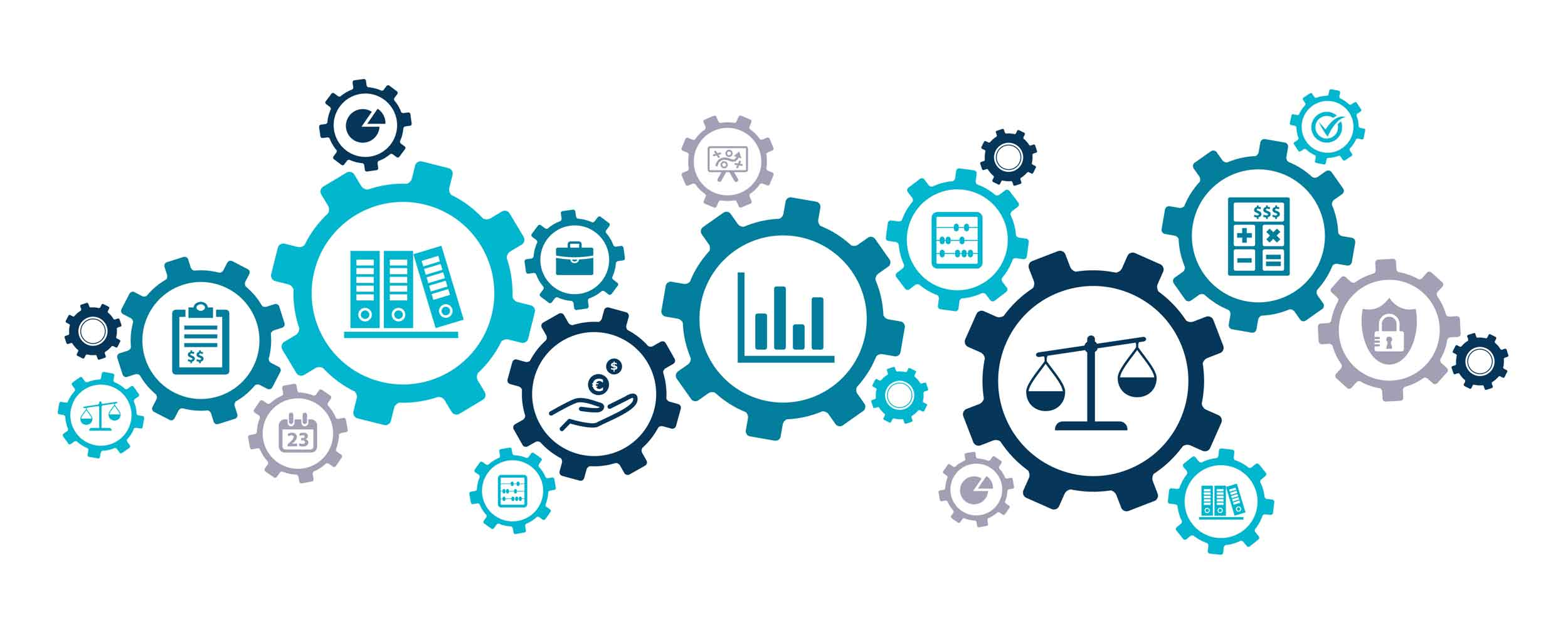 Mobile image Teal and blue cogs with bookkeeping and accounting icons