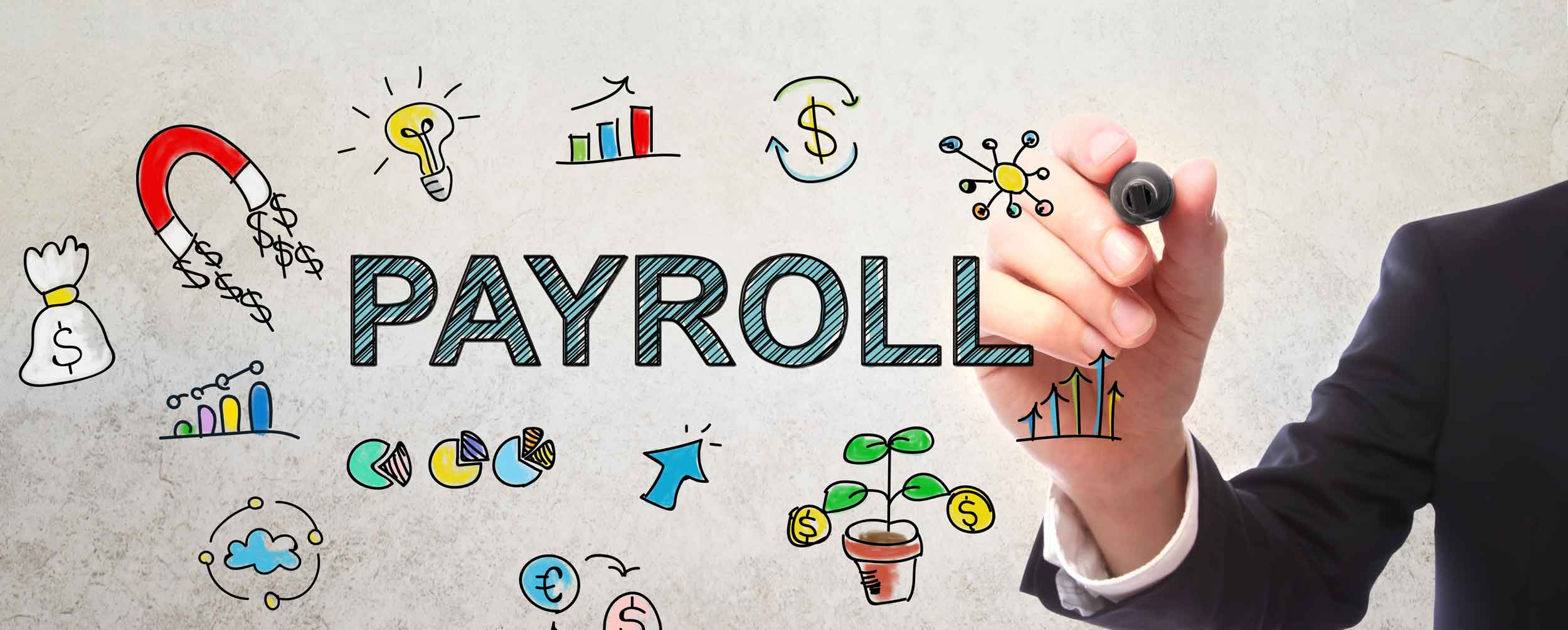 Mobile image of a person drawing on a board with the word payroll and other colorful financial icons