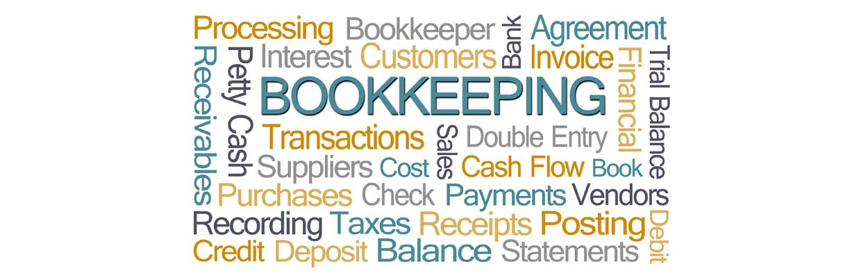 Bookkeeping word bubble in blue and yellow on the Adcon Monthly Bookkeeping blog