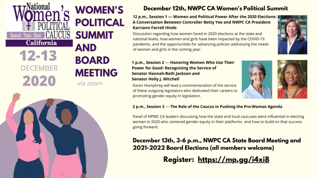 Dec. 12-13 NWPC CA Women's Political Summit and Board Meeting details