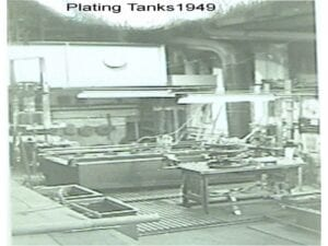 Hard Chrome Plating Tanks in 1949 This is the Plater's work area