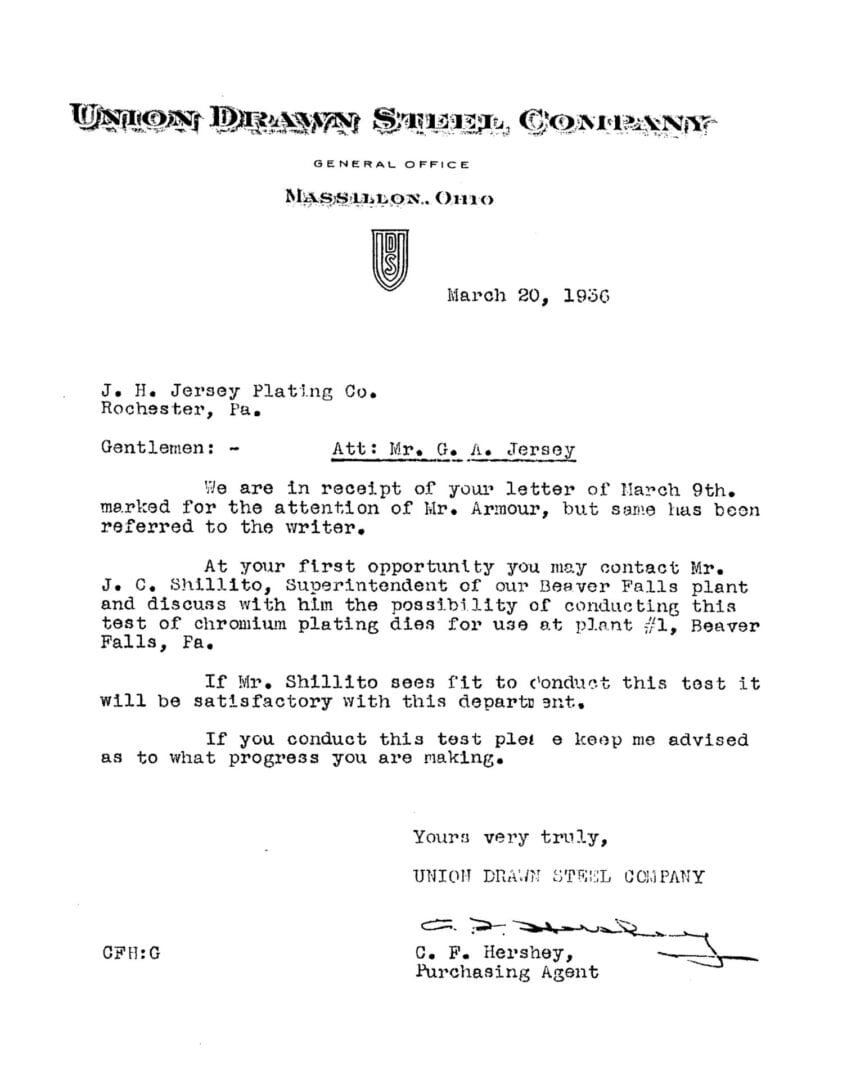 1936 Letter to Jersey Chrome