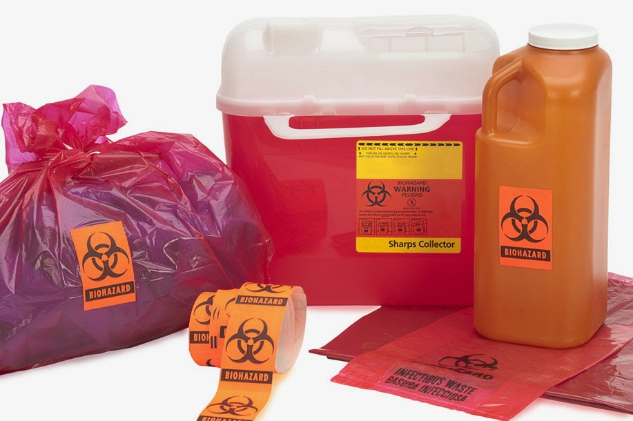 biohazard waste storage red bags labels COVID-19