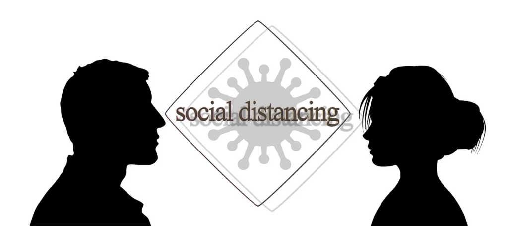 social distancing between a man and a woman