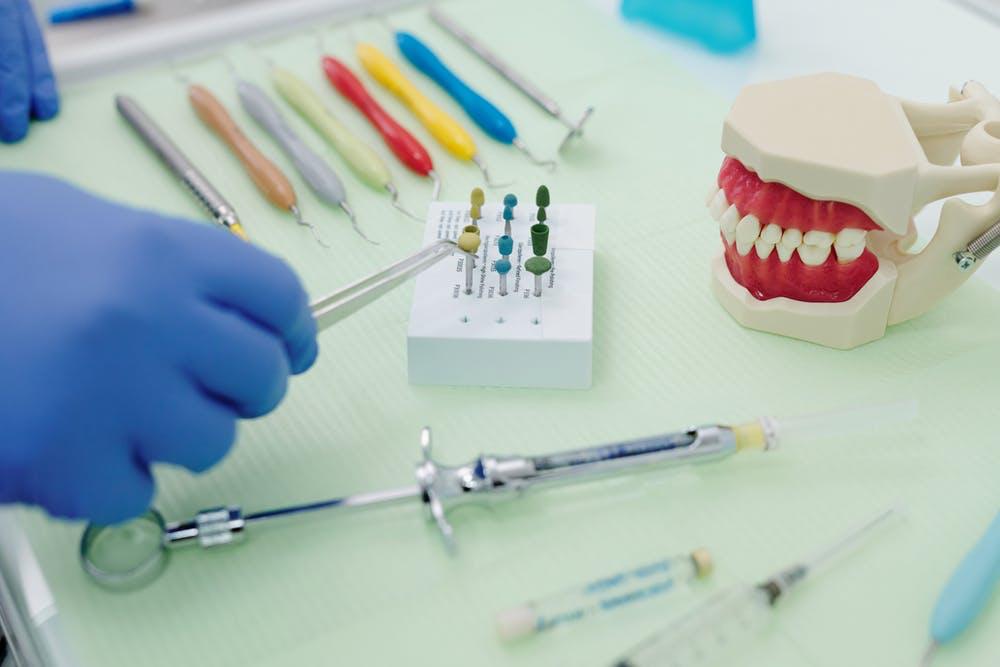 dental tools on a tray