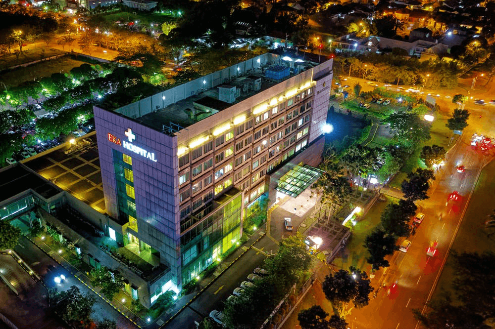 a hospital at night