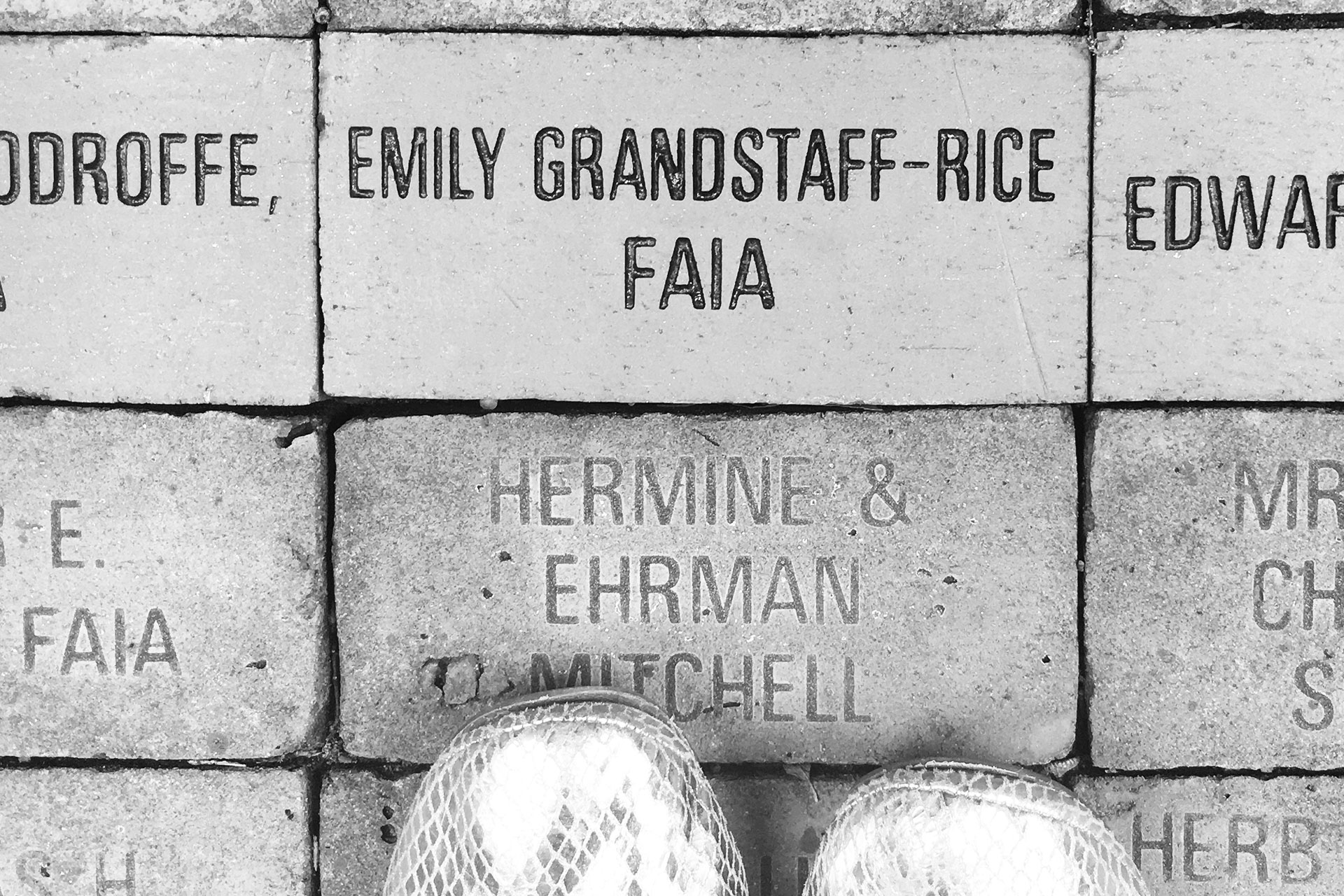 Brick that says Emily Grandstaff-Rice, FAIA