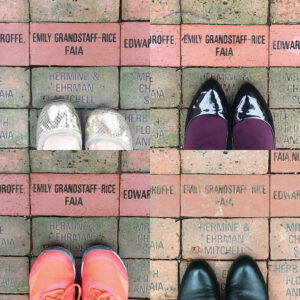 Four pictures of feet in front of AIA brick.