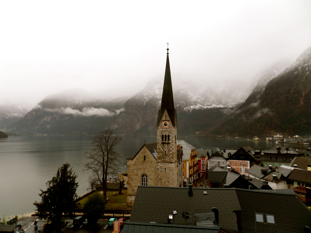 Through Foggy Raindrops: Hallstatt, Austria in Winter