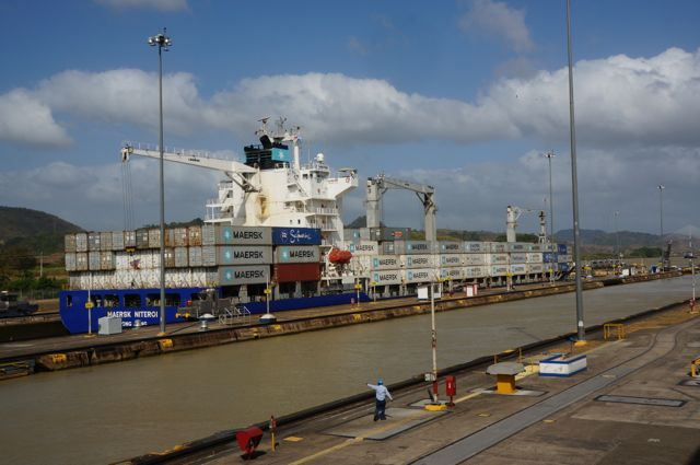 A ship at the Panama Canal. Learn more with 10 fascinating facts about the Panama Canal.