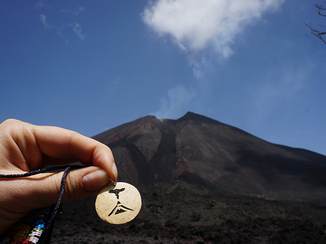 a special necklace at pacaya volcano