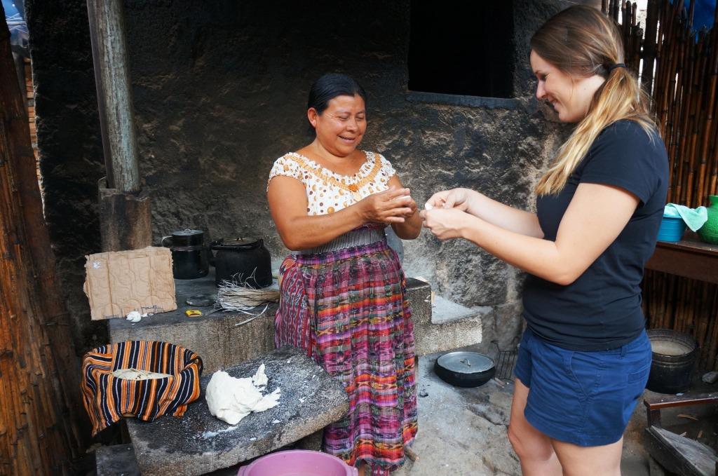 making tortillas with mayans on a day trip to lake atitlan guatemala