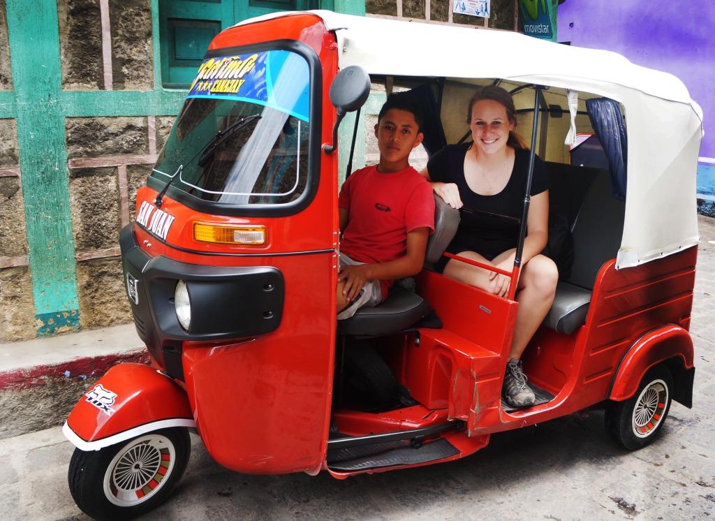 tuk tuk taxi on a day trip to lake atitlan guatemala