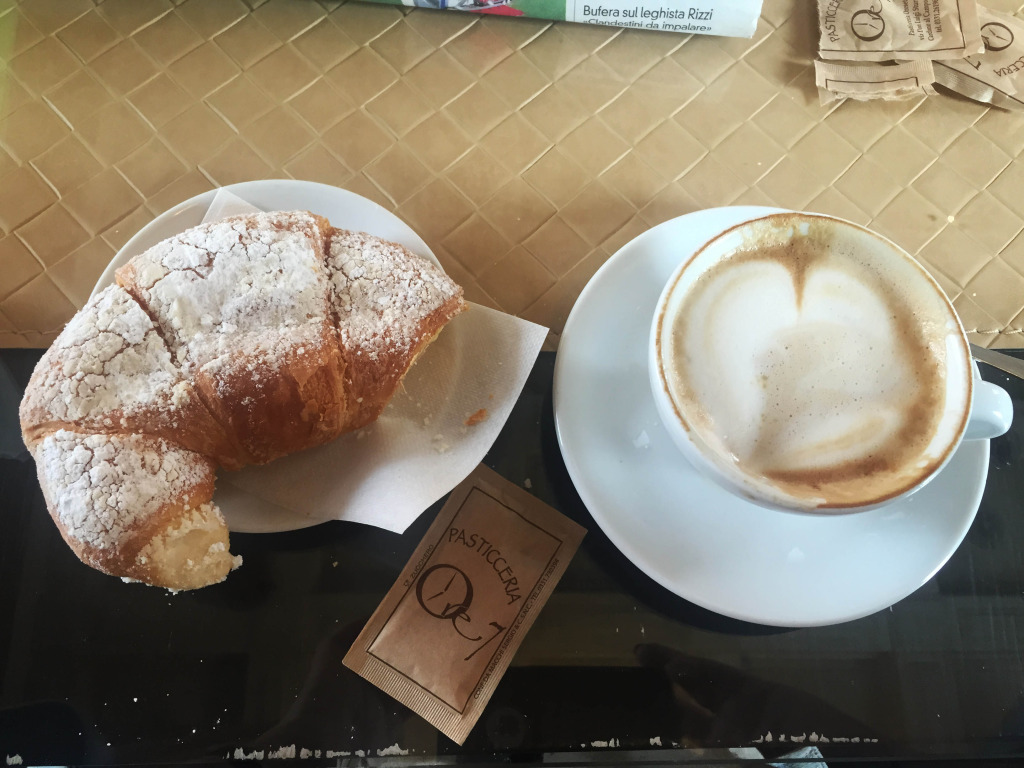 Older Solo Traveler in Rome coffee