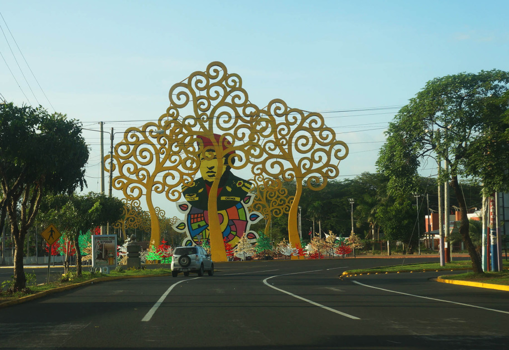 unusual sights in managua hugo chavez traffic circle