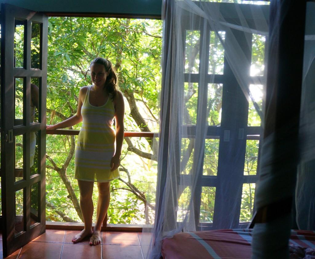 lauren in the treetops at hotel in montezuma