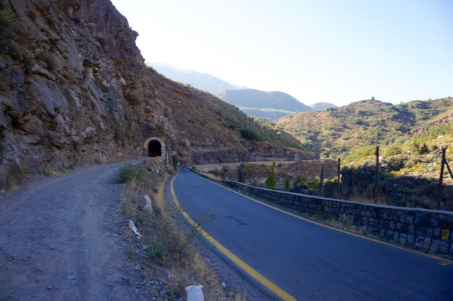 The road through the andes in chile