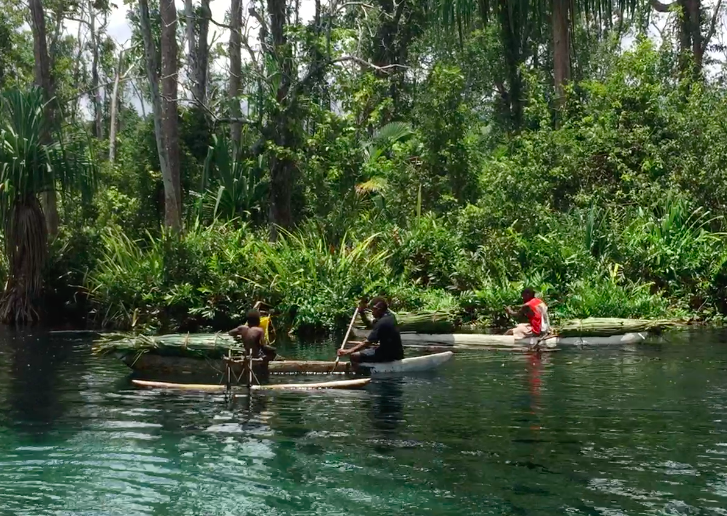 traditional canoes on an island road trip in papua new guinea