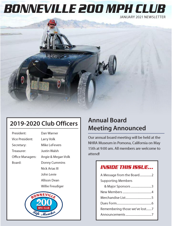 Bonneville 200 MPH Club