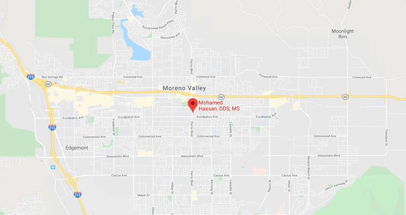 Moreno Valley Periodontist & Moreno Valley Dental Implants Map