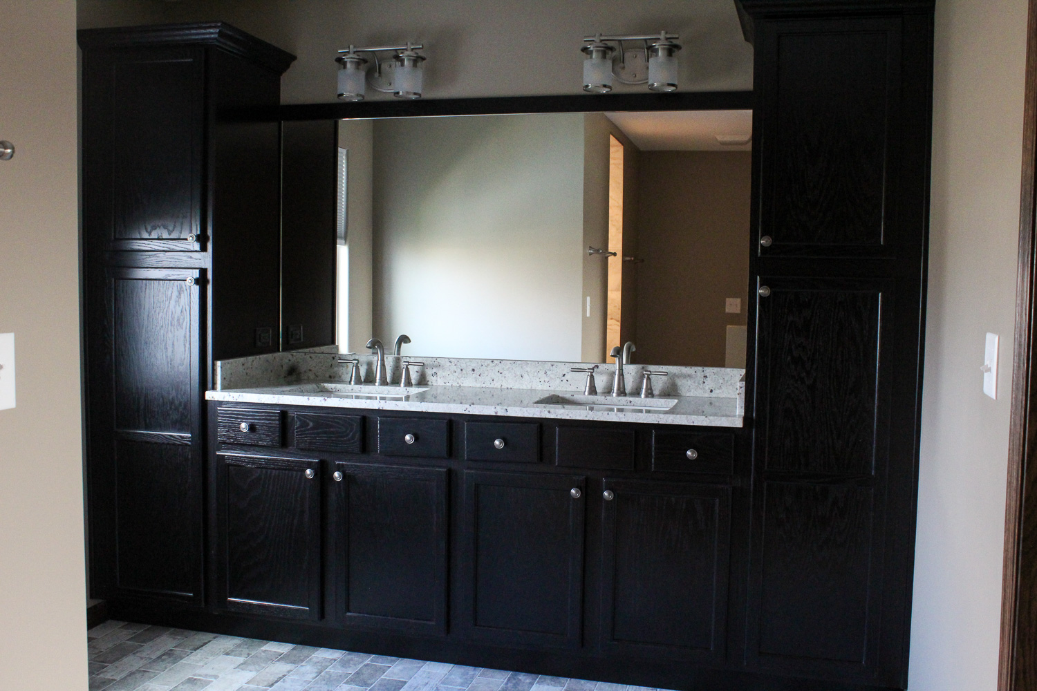 master bathroom vanity after restoration project