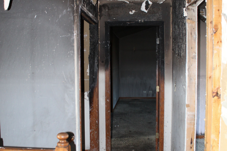 upstairs hallway after house fire