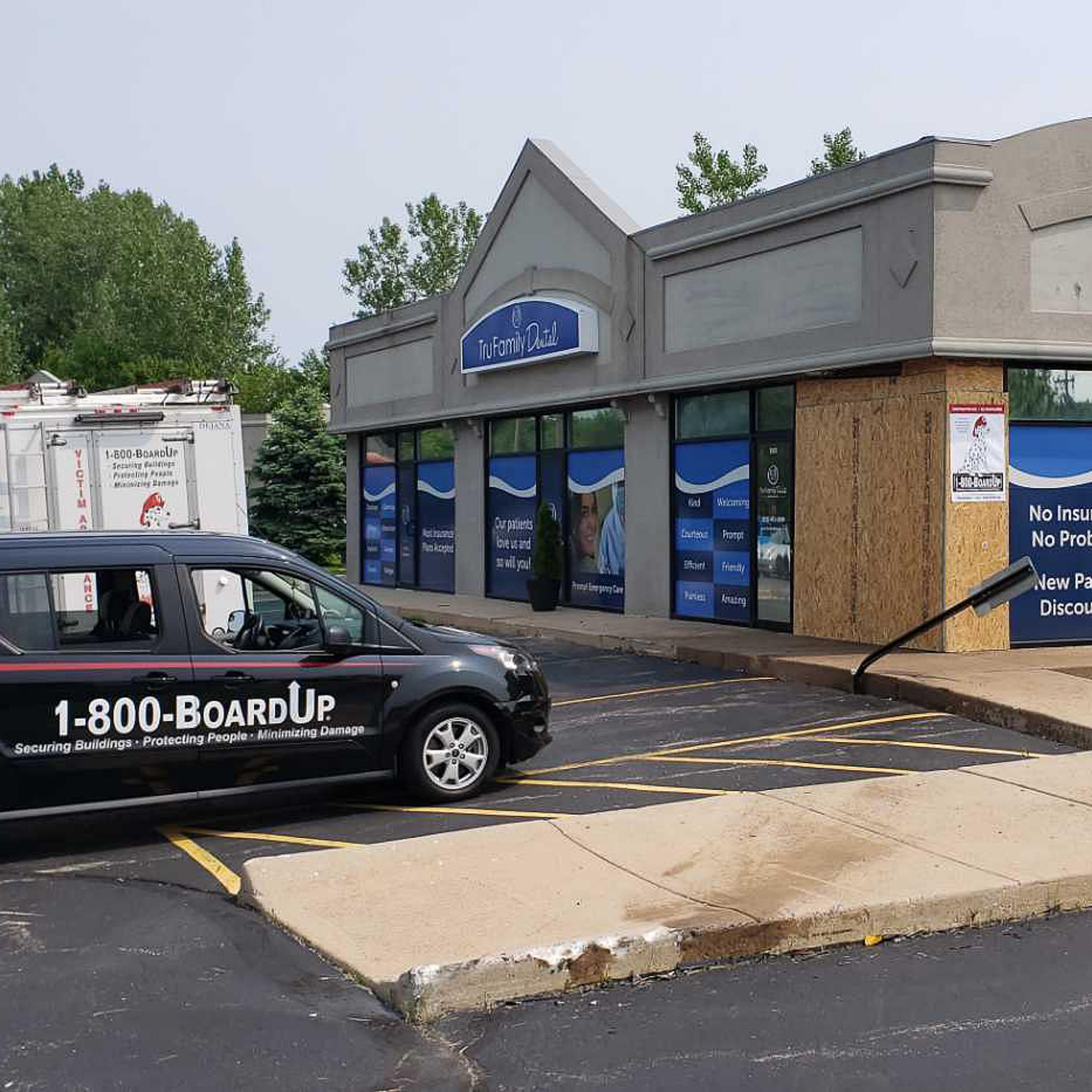 boarded up business after a vehicle impact