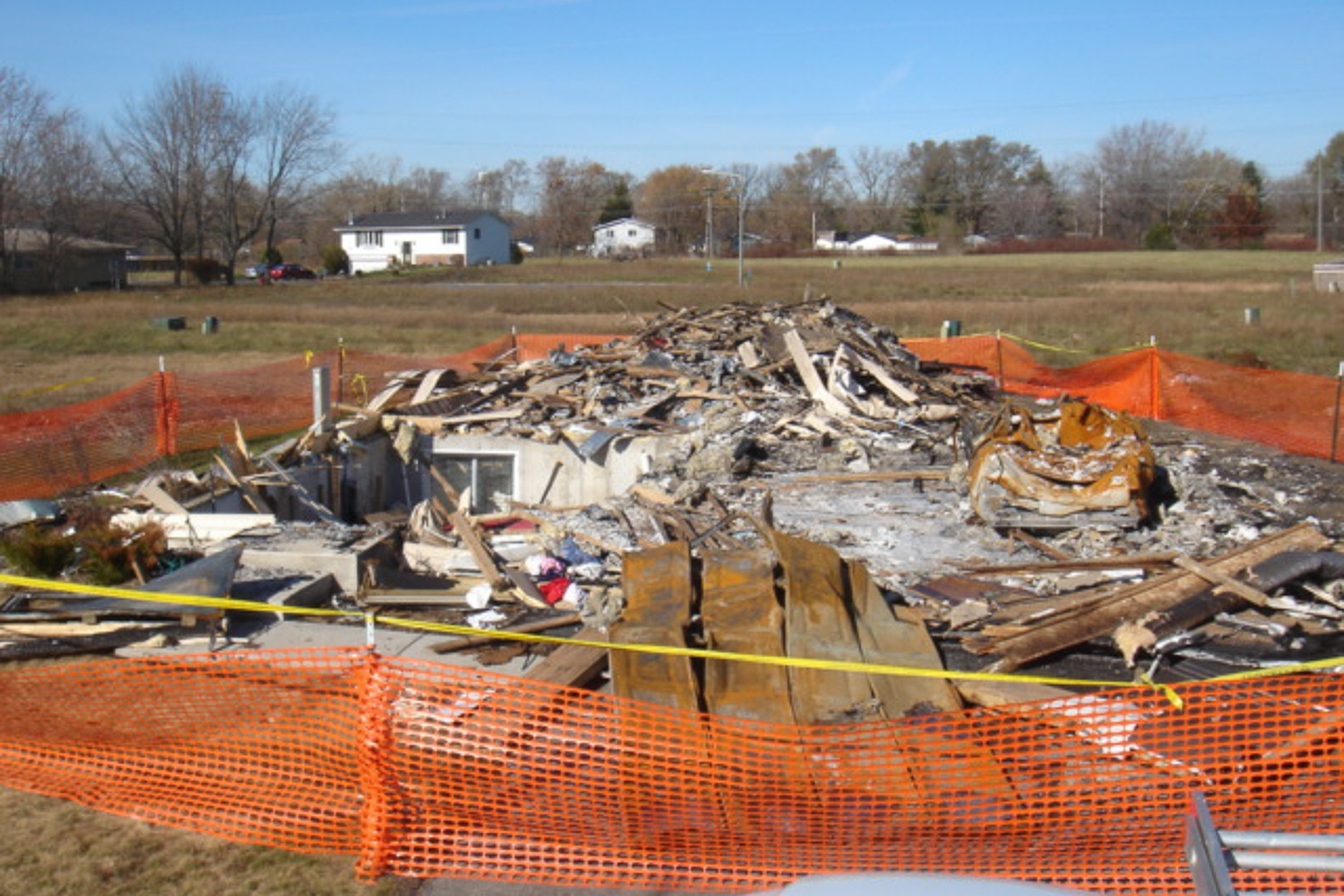 demoed house after house fire. Rubble from demoed house.