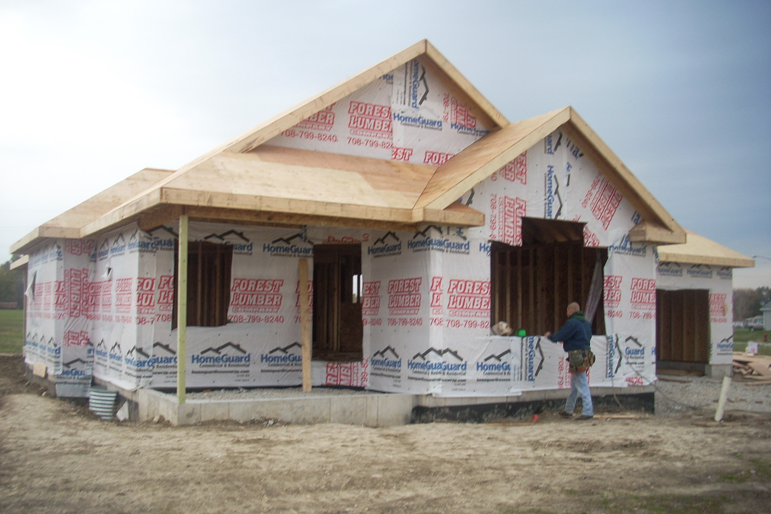 new house framed during rebuild process