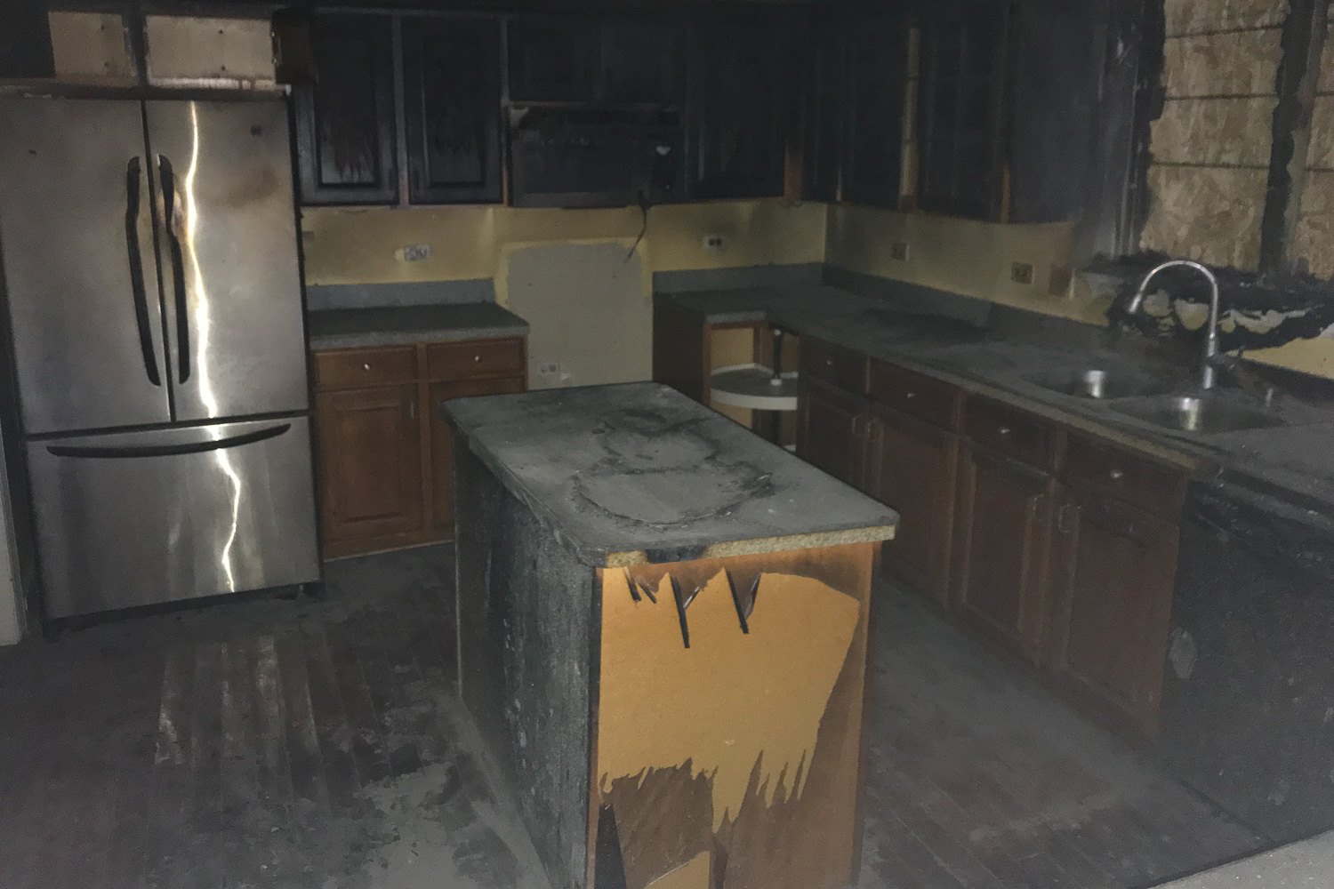 Kitchen before house fire restoration project