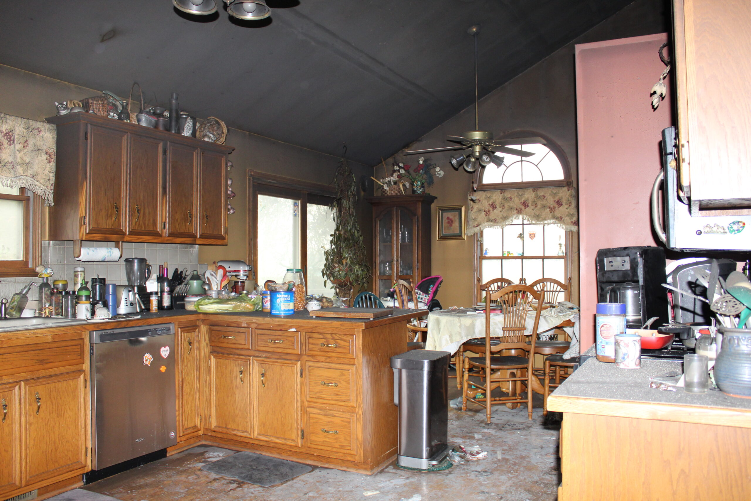 kitchen before fire restoration