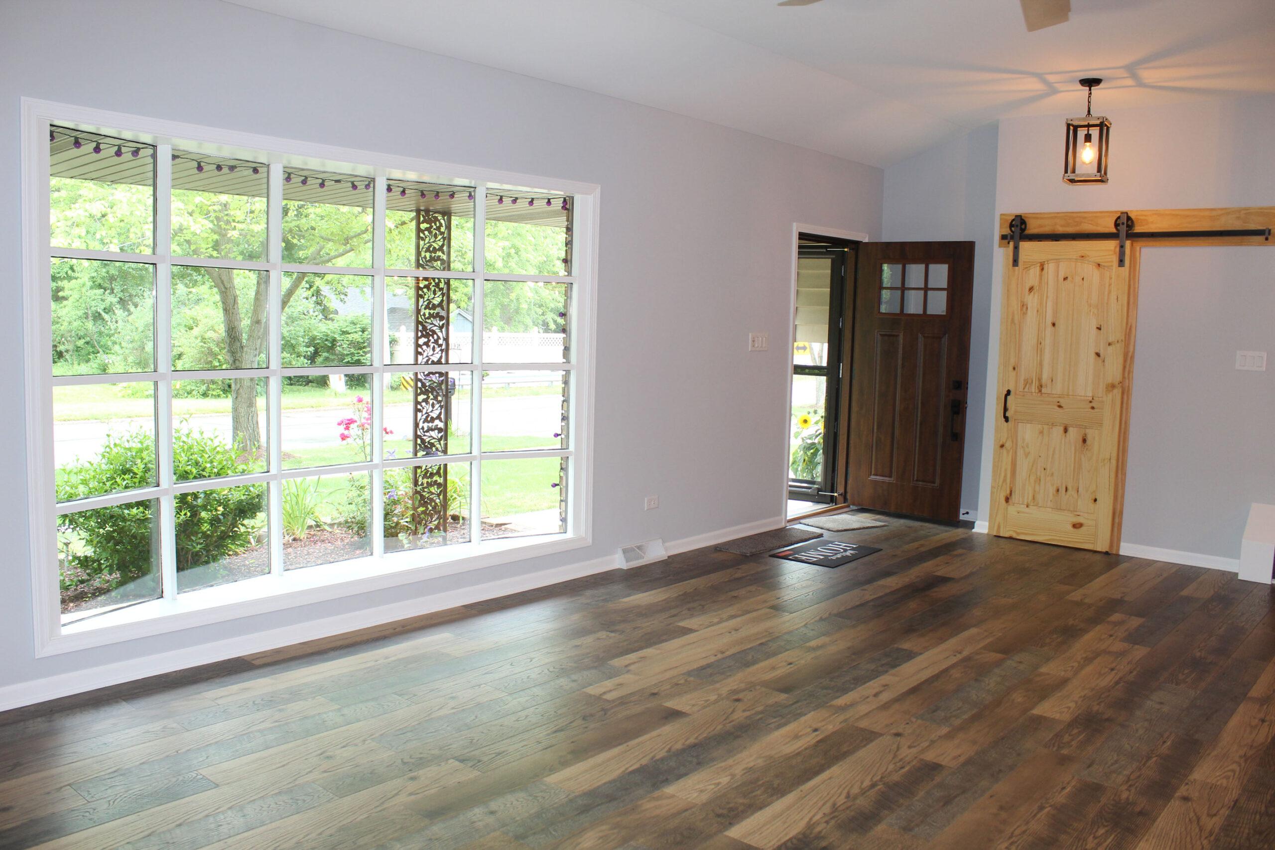 living room after home restoration