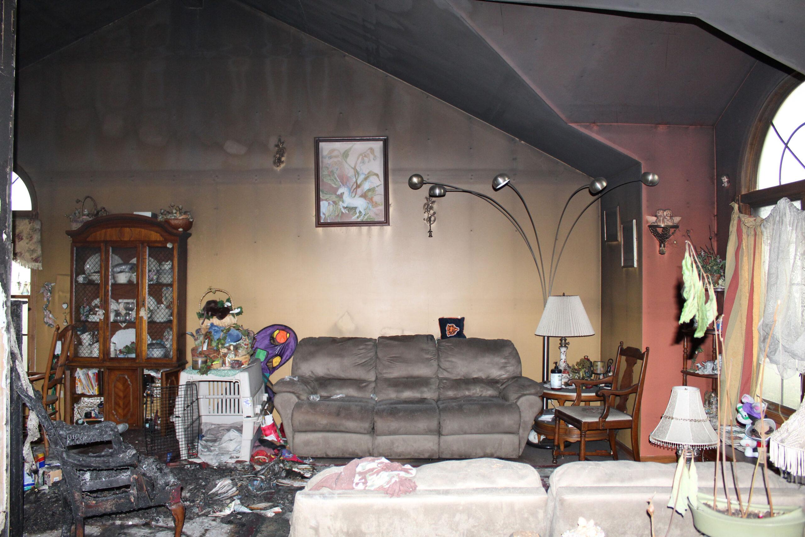 living room before home restoration