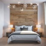 this accent wall doubles as a headboard in the bedroom