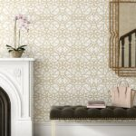 touch of gold in this accent wallpaper