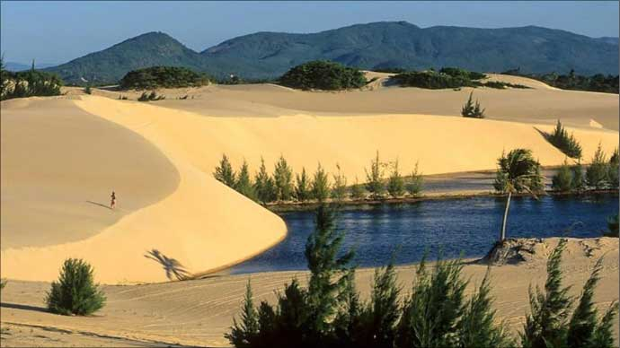 Yellow-white dunes at Praia do Japão , Ceara, Brazil.