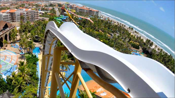 World's tallest - and steepest -wateslide at Beach Park , Fortaleza Brazil.